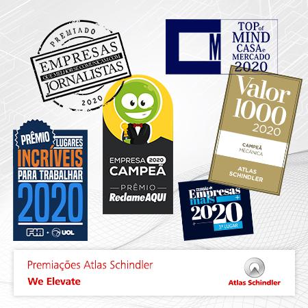 Seis premiações no segundo semestre encerram o 2020 da Atlas Schindler